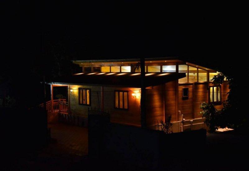 Smokey Haven Wooden House Night